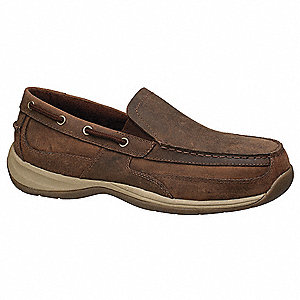 Men's Slip-On Shoes, Steel Toe Type, Leather Upper Material, Brown, Size 8M