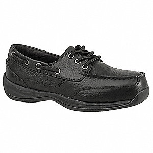 Men's Boat Shoes, Steel Toe Type, Leather Upper Material, Black, Size 9-1/2W