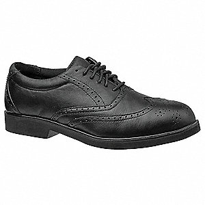 Men's Work Shoes, Steel Toe Type, Leather Upper Material, Black, Size 10-1/2W