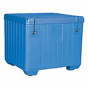 "Insulated Bulk Container, Blue, 43-1/2""H x 43""L x 49-1/2""W, 1EA"