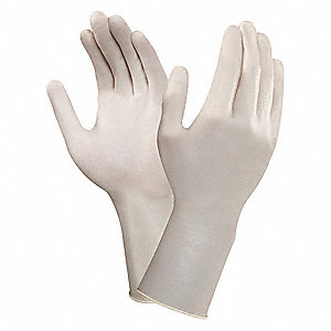 "12"" Powder Free Unlined Smooth Neoprene Disposable Gloves, Cream, Size  6-1/2, 200PK"