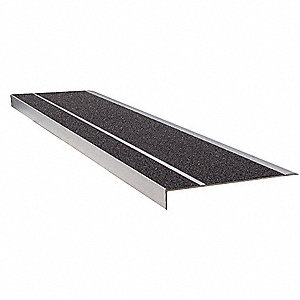 Stair Tread,Black,48in W,Extruded Alum