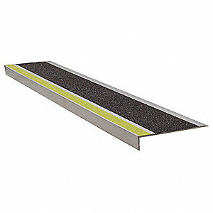 "Yellow/Black, Extruded Aluminum Stair Tread Cover, Installation Method: Fasteners, 60"" Width"