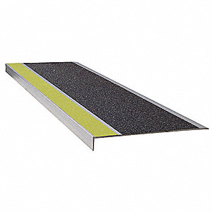 Stair Tread,Ylw/Blk,36in W,Extruded Alum