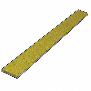 "Yellow, Extruded Aluminum Stair Strip, Installation Method: Fasteners, 60"" Width"
