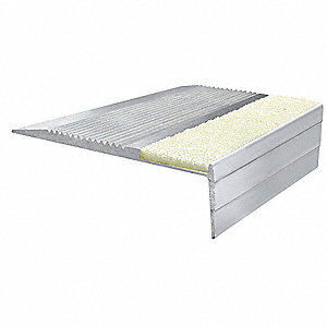 "Photoluminescent, Extruded Aluminum Stair Tread Cover, Installation Method: Fasteners, 36"" Width"