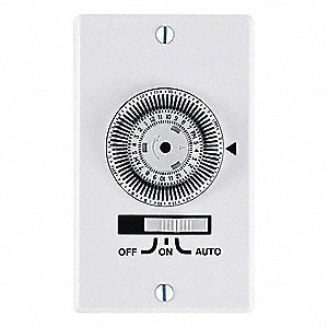 120VAC Electromechanical Wall Switch Timer, Max. On/Off Cycles:36, White