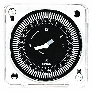Electromechanical Timer, 12 to 24VAC/DC Voltage, 21 Amps, Max. Time Setting: 23 hr. 45 min.