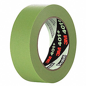 Paper Masking Tape, Rubber Tape Adhesive, 6.70 mil Thick, 12mm X 55m, Green, 48 PK