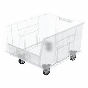 "Mobile Hopper Bin, Clear, 15-1/2""H x 23-7/8""L x 18-1/4""W, 1EA"