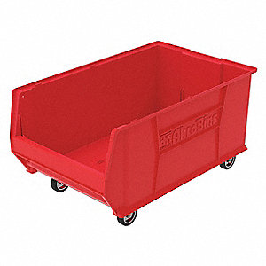 "Mobile Hopper Bin, Red, 15-1/2""H x 29-1/4""L x 18-3/8""W, 1EA"