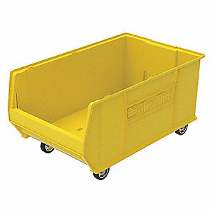 "Mobile Hopper Bin, Yellow, 15-1/2""H x 29-1/4""L x 18-3/8""W, 1EA"
