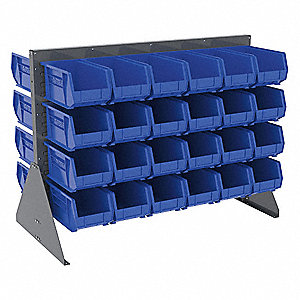 "Louvered Bench Rack with 48 Bins, 52-5/8""W x 27""D x 39-7/8""H, Number of Sides: 2"