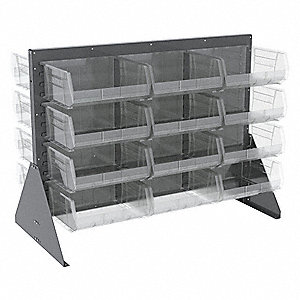 "Louvered Bench Rack with 24 Bins, 52-5/8""W x 27""D x 39-7/8""H, Number of Sides: 2"
