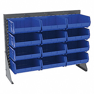 Louvered Bench Rack,12 Bins,Blue