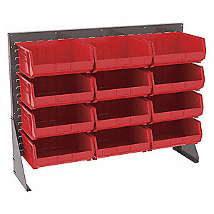 "Louvered Bench Rack with 12 Bins, 52-5/8""W x 13-1/2""D x 39-7/8""H, Number of Sides: 1"