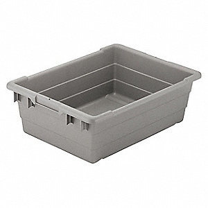"Cross Stacking Container, Gray, 8-1/2""H x 25""L x 16""W, 1EA"