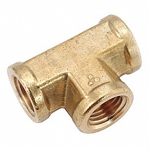 "Low Lead Brass Forged Female Tee, 1/4"" Pipe Size,  1 EA"