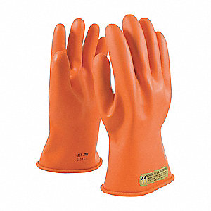 Orange Electrical Rated Gloves, Latex, 00 Class, Size 10