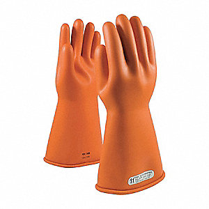Orange Electrical Rated Gloves, Latex, 1 Class, Size 12