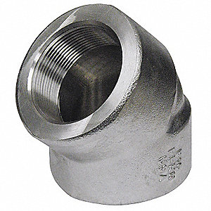 "304/304L Stainless Steel Elbow, 45 Degrees, FNPT, 1-1/2"" Pipe Size - Pipe Fitting"