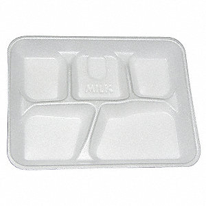Foam Disposable Cafeteria Tray, White&#x3b; PK500