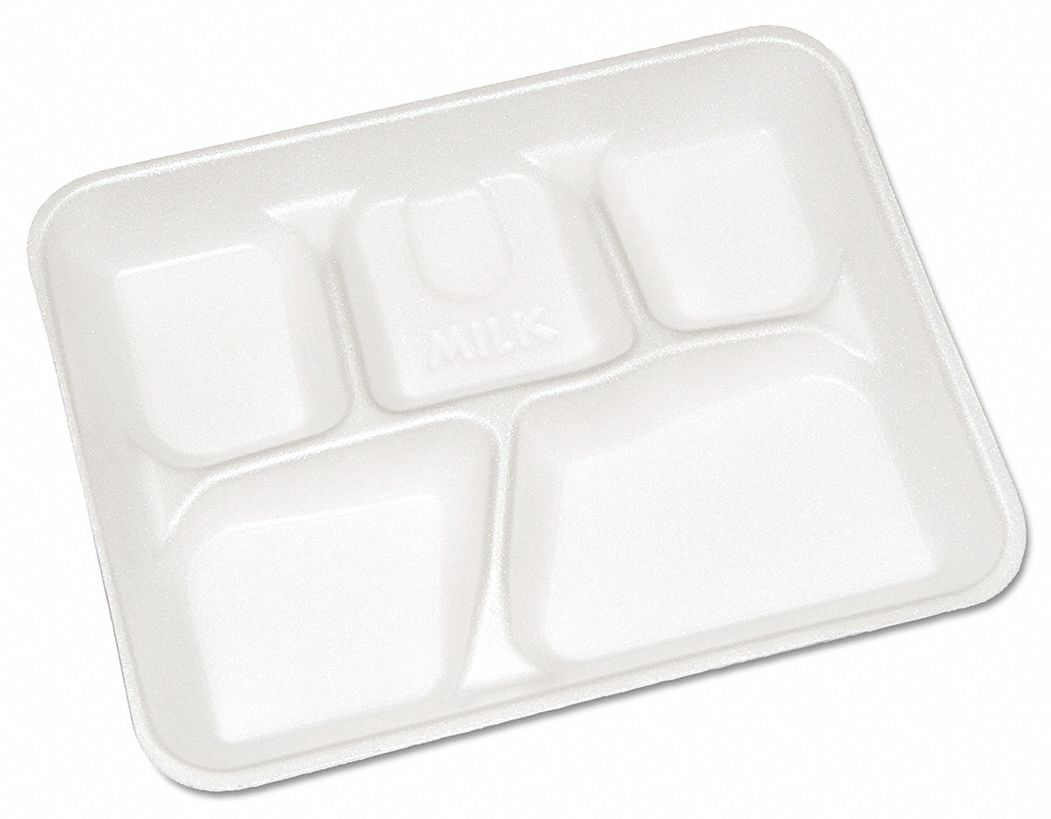 Foam Disposable Cafeteria Tray, White, 500 PK