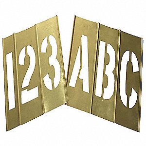 "Stencil Kit, Letters and Numbers, 6"", Brass, 1 EA"