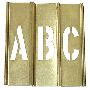 "Stencil Kit, A Thru Z, Punctuation, 2"", Brass, 1 EA"