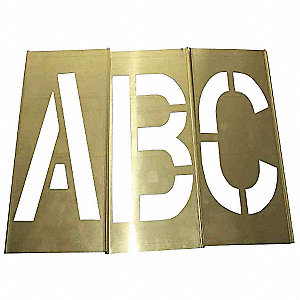 "Stencil Kit, A Thru Z, Punctuation, 4"", Brass, 1 EA"