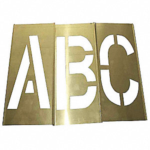 "Stencil Kit, A Thru Z, Punctuation, 6"", Brass, 1 EA"