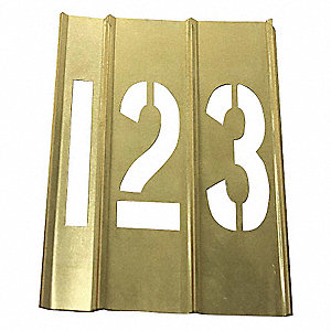 "Stencil Kit, Numbers, 4"", Brass, 1 EA"