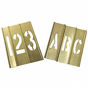 "Stencil Kit, A Thru Z, 0 Thru 9, Punctuation, 3"", Brass, 1 EA"