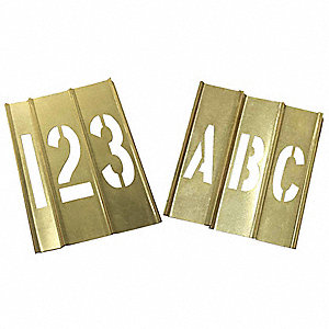 "Stencil Kit, A Thru Z, 0 Thru 9, Punctuation, 4"", Brass, 1 EA"