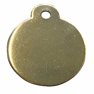 Yellow Blank Metal Tag, Brass, Round With Ear, 25 PK
