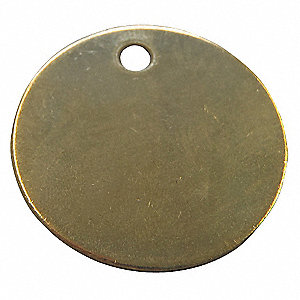 Yellow Blank Metal Tag, Brass, Round, 25 PK
