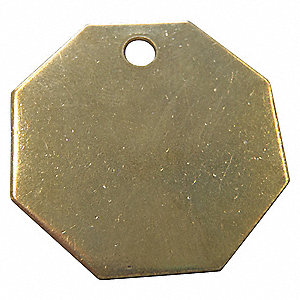 Yellow Blank Metal Tag, Brass, Octagonal, 25 PK