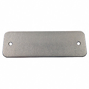 "Silver Blank Metal Tag, Aluminum, Rectangle, 1"" Height, 100 PK"