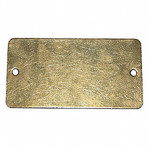 "Blank Metal Tag, Brass, Height: 1-1/2"", Width: 3"", Yellow"