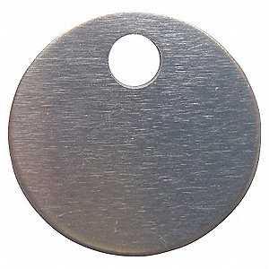 Silver Blank Metal Tag, Stainless Steel, Round, 100 PK