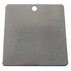 "Silver Blank Metal Tag, Stainless Steel, Square, 1"" Height, 100 PK"