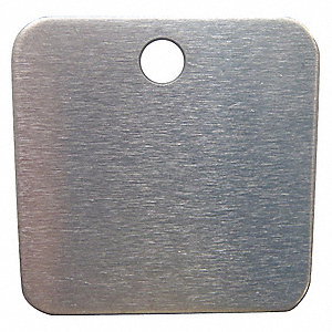 "Silver Blank Metal Tag, Aluminum, Square, 2"" Height, 100 PK"
