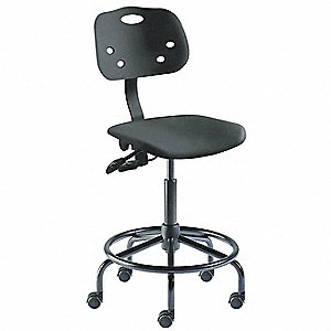 "Task Chair,Poly,Black,19"" to 26"" Seat Ht"