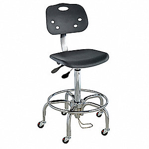 "Polypropylene Ergonomic Chair with 19 to 26"" Seat Height Range and 350 lb. Weight Capacity, Black"