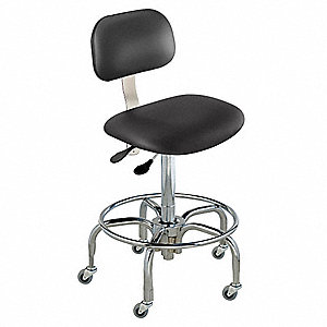 "Upholstered Vinyl Ergonomic Chair with 19 to 26"" Seat Height Range and 350 lb. Weight Capacity, Blac"