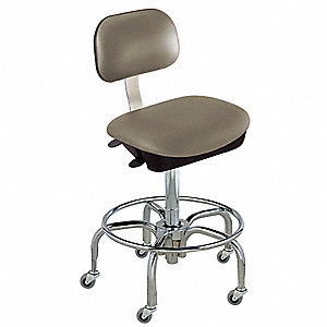 "Upholstered Vinyl Ergonomic Chair with 17 to 22"" Seat Height Range and 350 lb. Weight Capacity, Grey"