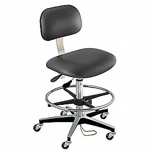 "Upholstered Vinyl Ergonomic Chair with 19"" to 26"" Seat Height Range and 300 lb. Weight Capacity, Bla"