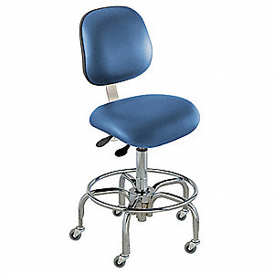 "Upholstered Vinyl Ergonomic Chair with 19"" to 26"" Seat Height Range and 300 lb. Weight Capacity, Blu"