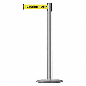Barrier Post with Belt,Metal,13 ft. L