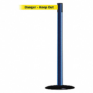 Barrier Post w/ Belt,7-1/2 ft. L,Yellow